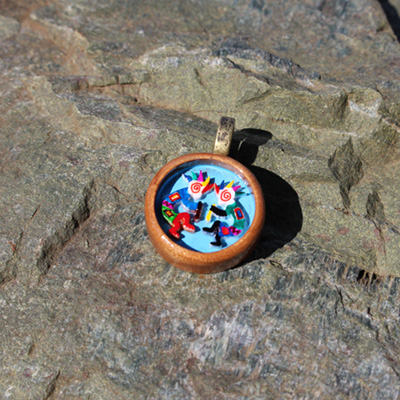 Kokopelli Party Wood Pendant